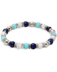Perepaix - Black & White Lave Stone, Lapis And Turquoise Beaded Bracelet - Lyst