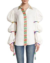 All Things Mochi Statement Sleeve Linen Top - White