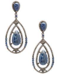 Bavna - Champagne Diamond, Blue Sapphire & Sterling Silver Rose Cut Earrings - Lyst