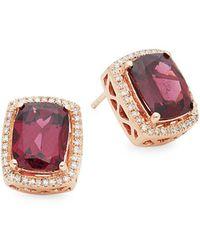Effy 14k Rose Gold, Rhodalite & Diamond Stud Earrings - Pink