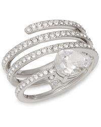 Adriana Orsini Crystal Spiral Ring - Multicolour