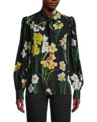 Dolce & Gabbana Floral Chiffon Silk Blouse - Black