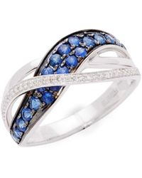 Effy Women's 14k White Gold, Sapphire & Diamond Ring - Size 7 - Blue