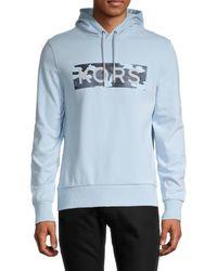 Michael Kors Men's Graphic Cotton-blend Hoodie - Chambray - Size S - Blue