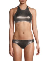 Norma Kamali Women's Side Stripe Metallic Bikini Top - Gunmetal - Size Xs - Black