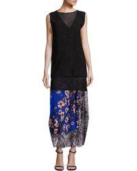 Fuzzi Vintage Floral Patch Maxi Skirt - Blue