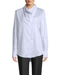 Stella McCartney - Cotton Cowlneck Shirt - Lyst