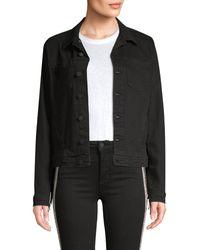 L'Agence Celine Femme Fringe Denim Jacket - Black
