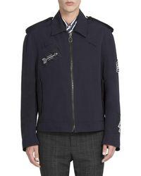 Lanvin Printed Patch Short Jacket - Blue