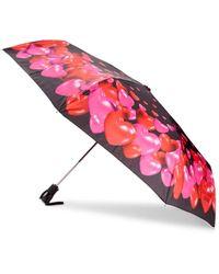 Boutique Moschino Heart Charm Printed Umbrella - Black Red