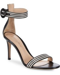 Gianvito Rossi | Striped Leather Ankle Strap Sandals | Lyst