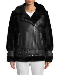 Nicole Benisti Greenwich Shearling & Sheepskin Moto Jacket - Black