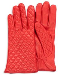 Portolano Women's Quilted Leather Gloves - Red - Size 7