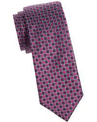 Saks Fifth Avenue Geometric Print Silk Tie - Purple