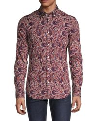 Ben Sherman Men's Slim-fit Paisley-print Shirt - Baked Clay - Size S - Red