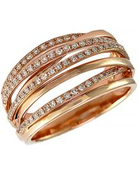 Effy Diamond And 14k Rose Gold Crossover Ring - Metallic
