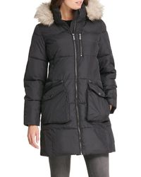 DKNY Quilted Faux Fur-trim Hooded Coat - Black
