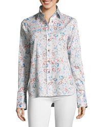 Robert Graham Women's Priscilla Leopard-print Shirt - White - Size Xs