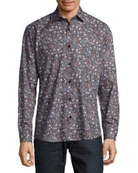 Jared Lang - Skull-print Cotton Casual Button-down Shirt - Lyst