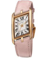 Bruno Magli Women's Sofia 1421 Asymmetrical Case Leather Strap Watch, 24mm - Pink