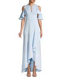 ML Monique Lhuillier Ruffle Cold-shoulder Halter Gown - Blue