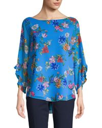 Calvin Klein Floral High-low Top - Blue