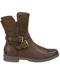 UGG Simmens Leather & Felt Shearling-lined Boots - Brown