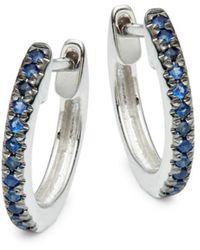 Saks Fifth Avenue Women's 14k White Gold & Sapphire Hoop Earrings - Multicolour