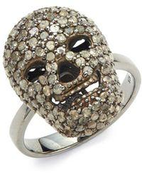 Bavna Champagne Pavé Diamond And Sterling Silver Skull Cocktail Ring - Metallic