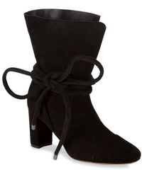 Saks Fifth Avenue - Shoestring Suede Booties - Lyst