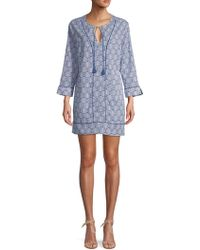 Marabelle - Printed Self-tie Cotton Cover-up - Lyst