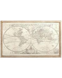 UMA | Raquel Davidowicz Traditional Polished Wooden Map Of The World Wall Art - Brown
