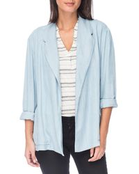 B Collection By Bobeau Marlyn Chambray Blazer - Blue
