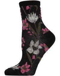 Memoi Women's Blossom Twist Anklet Socks - Black Pink - Size 9-11