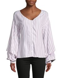 Cupcakes And Cashmere Striped V-neck Top - White