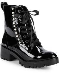 Karl Lagerfeld - Preston Pearl Embellished Combat Boots - Lyst