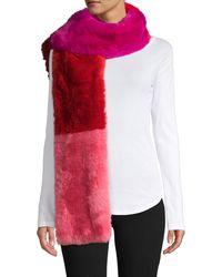 Jocelyn Colorblock Faux Fur Scarf - Red