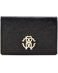 Roberto Cavalli Bi-fold Leather Wallet - Black