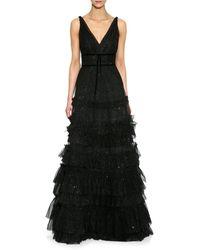 Marchesa Glitter Ruffled Gown - Black
