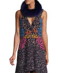 Surell Fox Fur Headband/collar - Blue