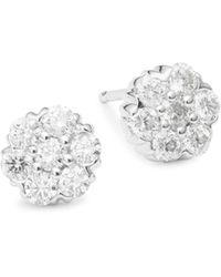 Saks Fifth Avenue - 14k White Gold & Diamond Stud Earrings - Lyst