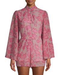 Haute Rogue - Mila Floral Bell-sleeve Romper - Lyst