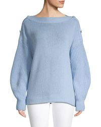 Akris Punto Oversized Button Shoulder Pullover - Blue