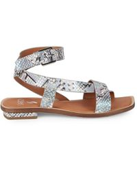 Sarto Women's Embossed Snake Leather Ankle Wrap Sandals - Ocean Wave - Size 7.5 - Multicolour