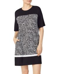 DKNY Colorblock & Print Sleep Shirt - Black