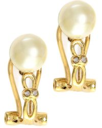 Effy - 14kt. Yellow Gold Freshwater Pearl Earrings With Diamonds - Lyst