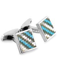 Ermenegildo Zegna Multi-stone & Sterling Silver Mosaic Square Cufflinks - Multicolour