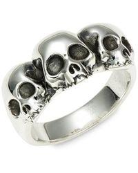 King Baby Studio Triple Hamlet Sterling Silver Skull Ring - Metallic