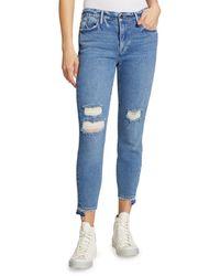 FRAME Le High Release Stagger-Hem Skinny Crop Jeans - Blue