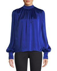 AMUR Lily Silk Blouse - Blue